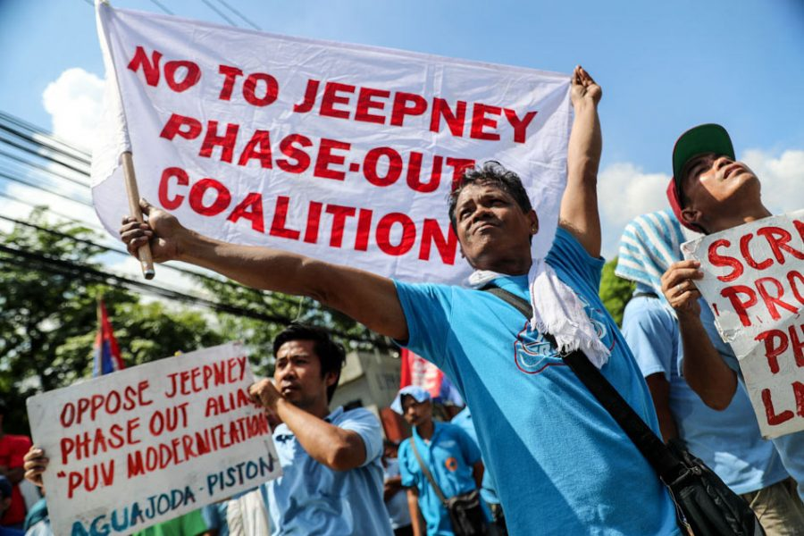 Transport group Piston protests against the proposed phase out of old jeepneys at the LTFRB office along East Avenue, Quezon City.