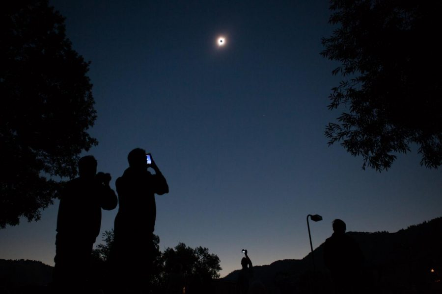 Viewers cheered and howled as they took in the total eclipse in downtown Jackson, Wyo.