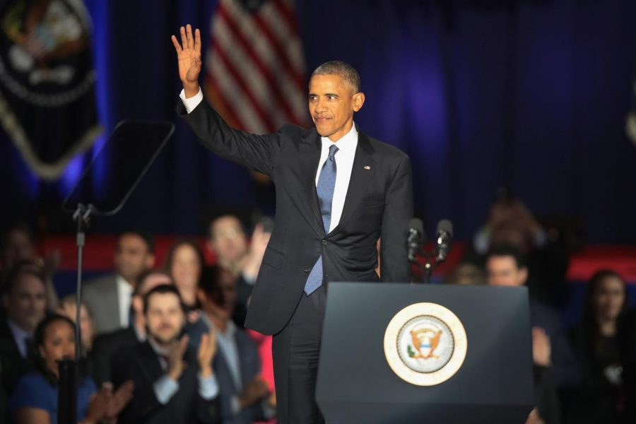 President Barack Obama at his farewell address in Chicago.