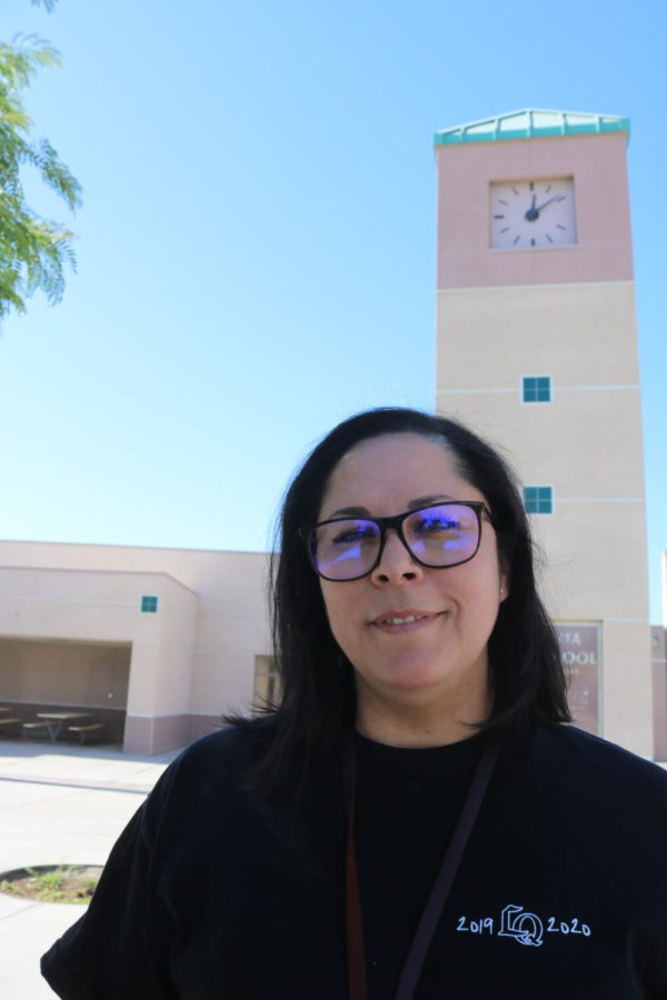 Counselor Veronica Davis poses outside of the counseling courtyard on Fri., June 4, 2021. She transferred from La Quinta High School to Amistad High School.